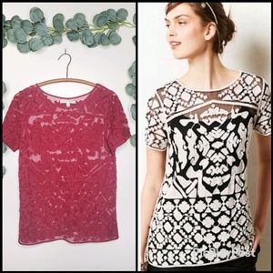 Anthro Everleigh Rocco Lace Top | Medium | NWOT